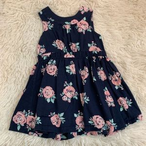 Roses Floral Print Navy Blue Dress